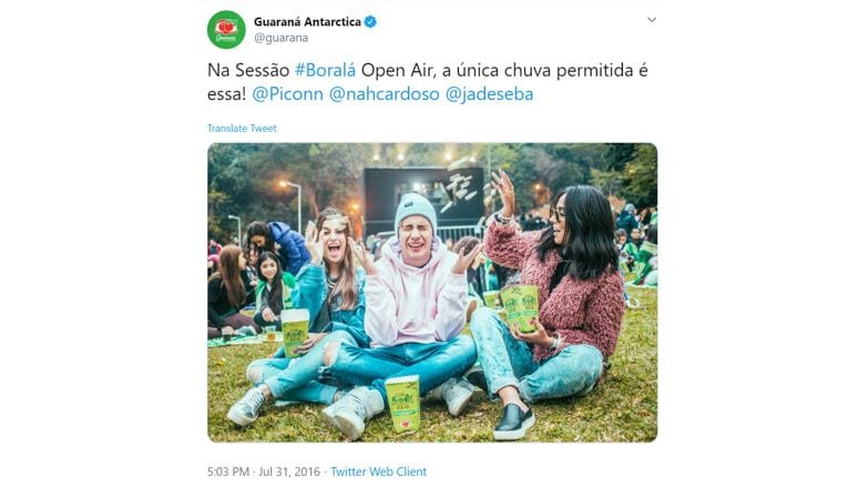 Twitter Trending Topics: imagem de um tweet da marca guaraná antártica