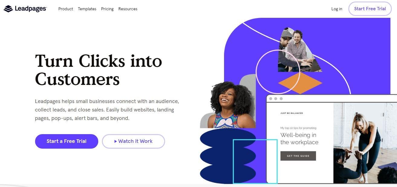 Como criar uma landing page: imagem da home do Leadpages