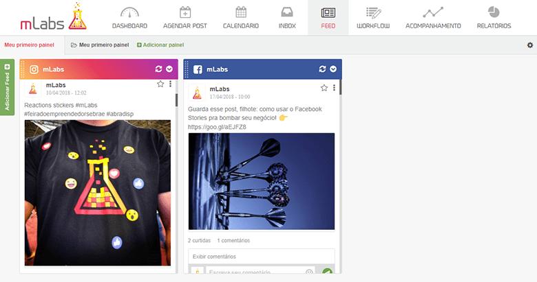 como gerenciar vários comentários nas redes sociais usando a mLans. Tela do feed da mLabs
