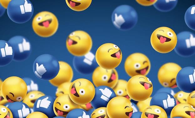 imagem com emojis e likes, representando as interações nas redes sociais