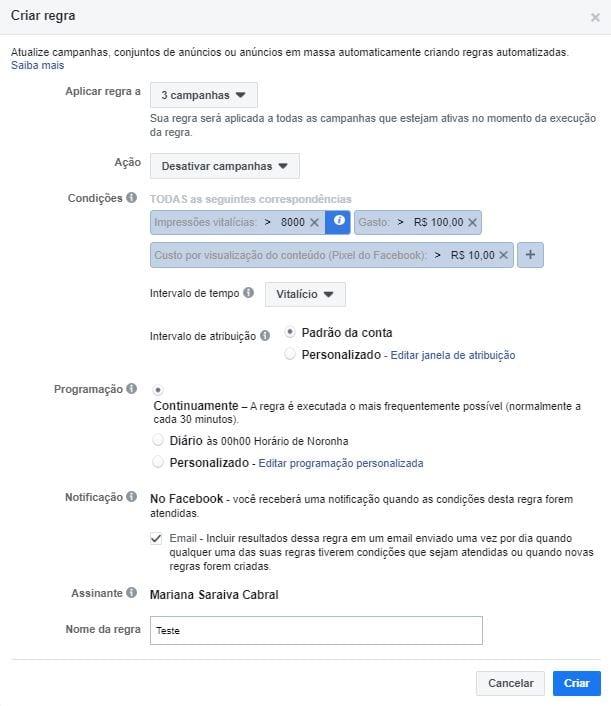 regras automatizadas no Facebook configurações