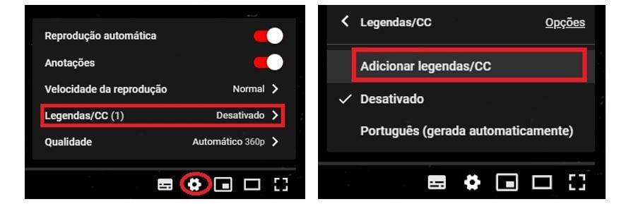 Como colocar legenda em vídeo no YouTube: imagem da tela de configuração do YouTube