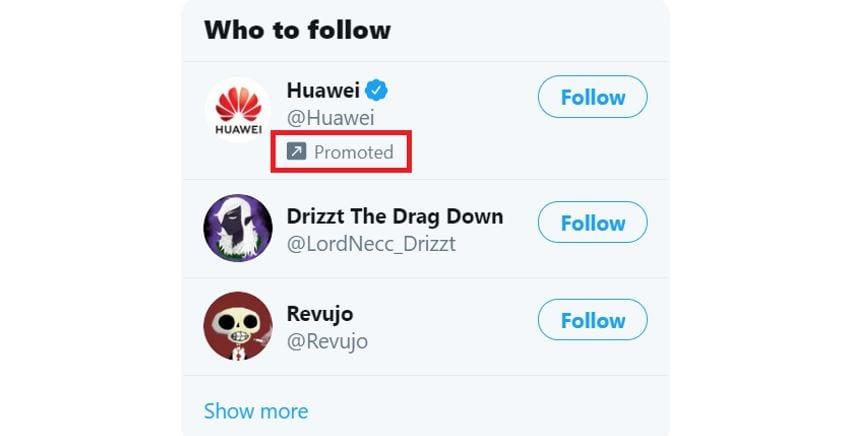 Twitter Ads: imagem de Conta Promovida da marca Huawei