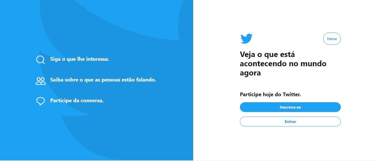 Twitter Analytics: imagem da tela de entrada do Twitter