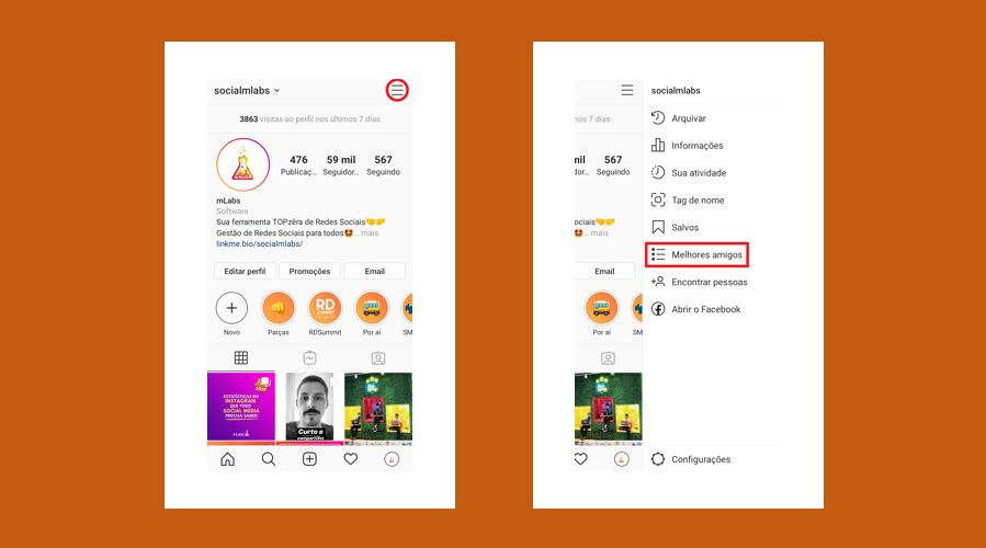Close Friends: imagem de prints de tela do menu configurações do Instagram