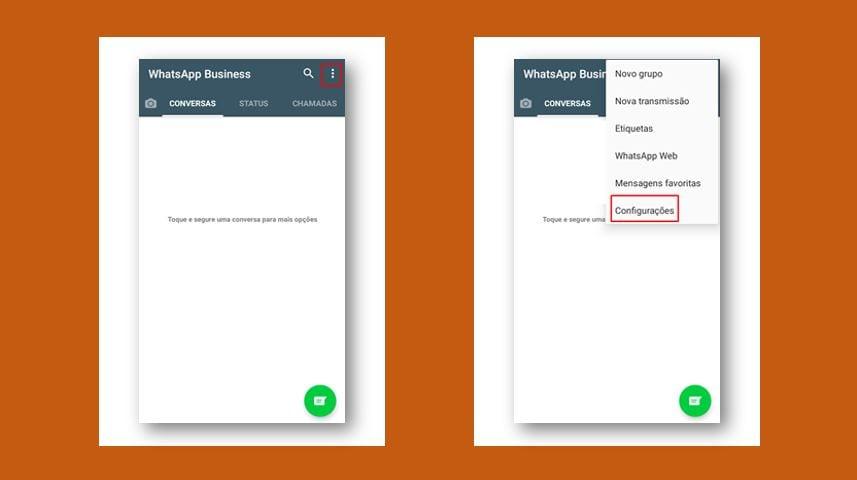 Como mandar mensagem automática no WhatsApp: imagem da parte tela de configuração do WhatsApp