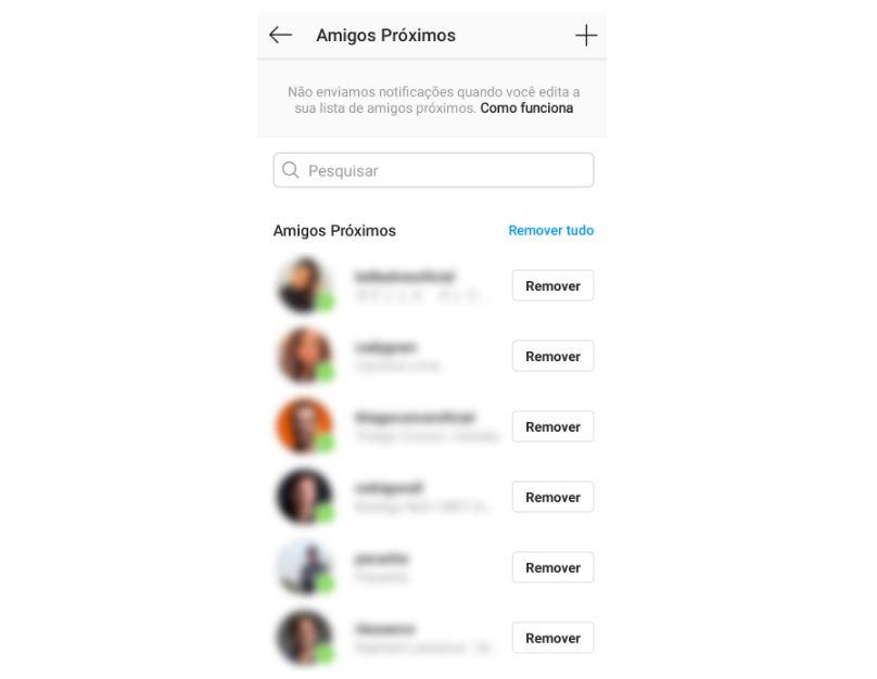Close Friends: imagem da tela do Instagram apresentando a lista selecionada de amigos no recurso close friends