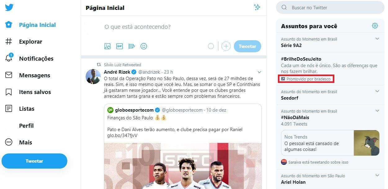 Twitter Ads: imagem de um tweet promovido da marca Bradesco na rede social