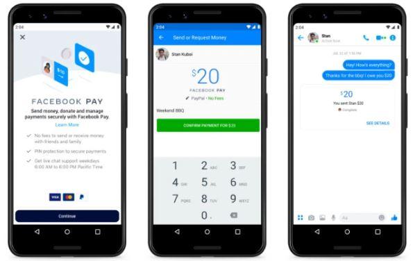 Facebook Pay: imagem de três celulares com a tela do novo recurso aberta.
