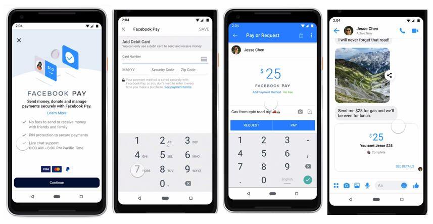 Facebook Pay: imagem de quatro celulares com a tela do novo recurso aberta.