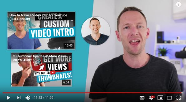 Ganhar visualizações no YouTube: imagem do final de um vídeo do YouTube mostrando as indicações de mais vídeos para assistir.