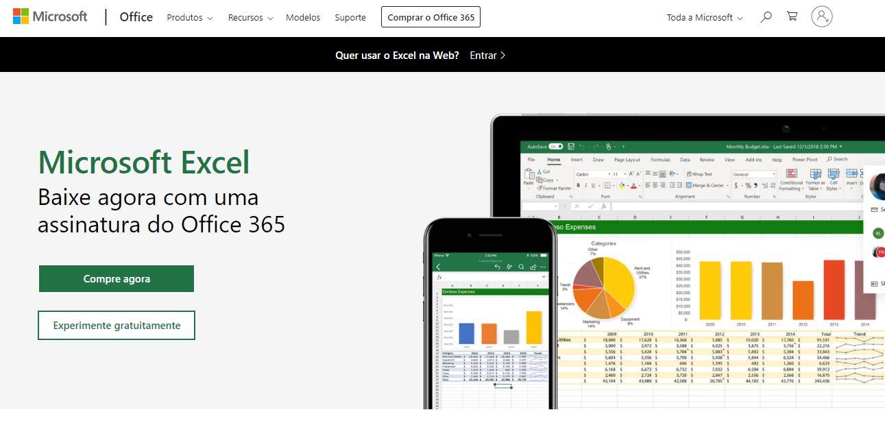 Calendário de Marketing: imagem da página do Excel online