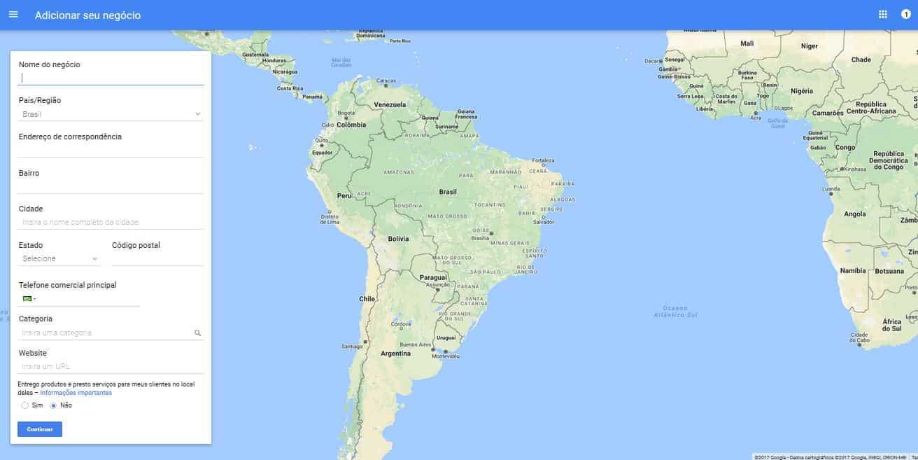 Google Maps: imagem da tela inicial do Google Meu Negócio
