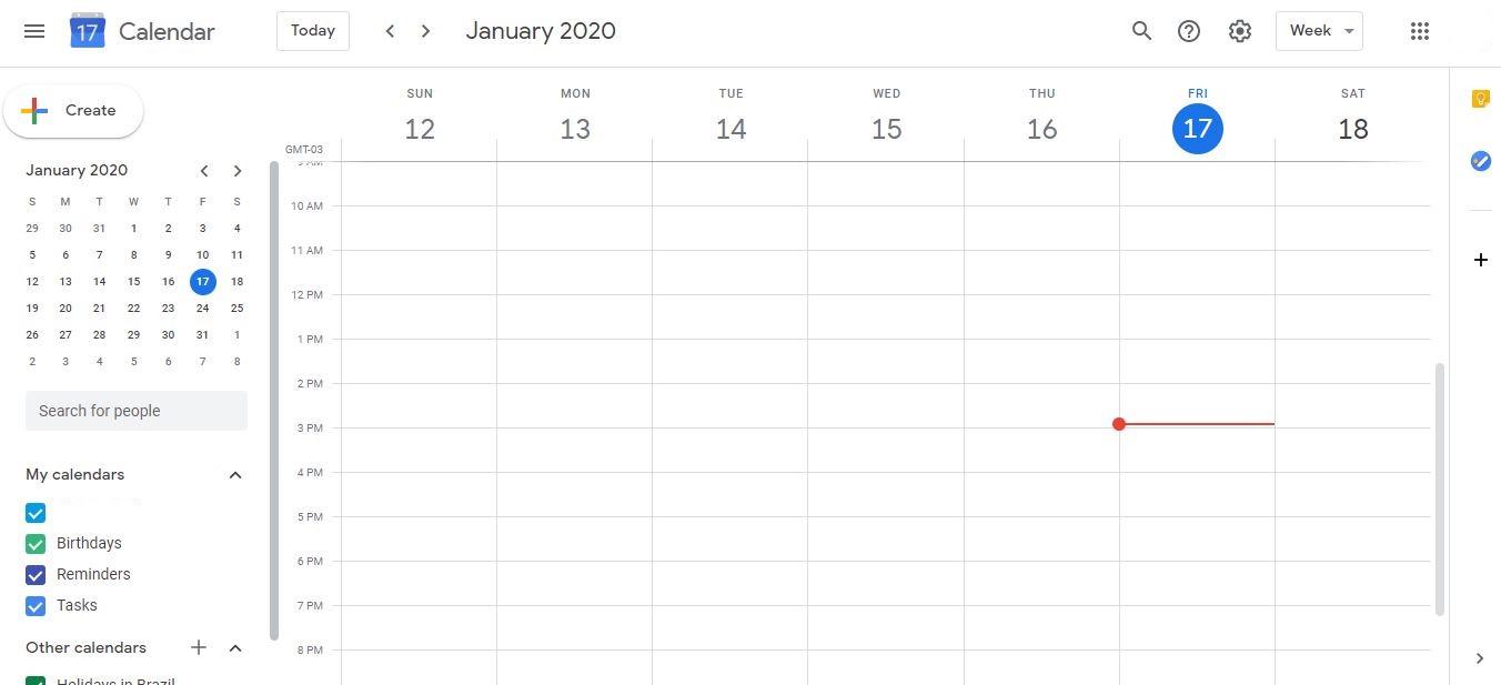 Calendário de Marketing: imagem da página do Google Calendar online