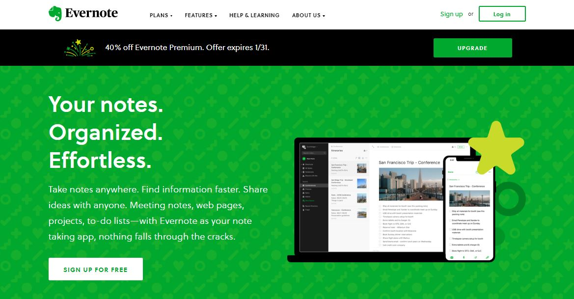 Calendário de Marketing: imagem da página do Evernote