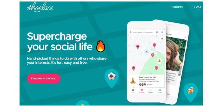 Redes Sociais Novas: imagem da tela inicial do site Shoelace