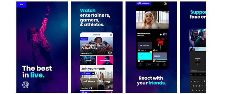 Redes Sociais Novas: imagem da tela inicial do aplicativo Caffeine