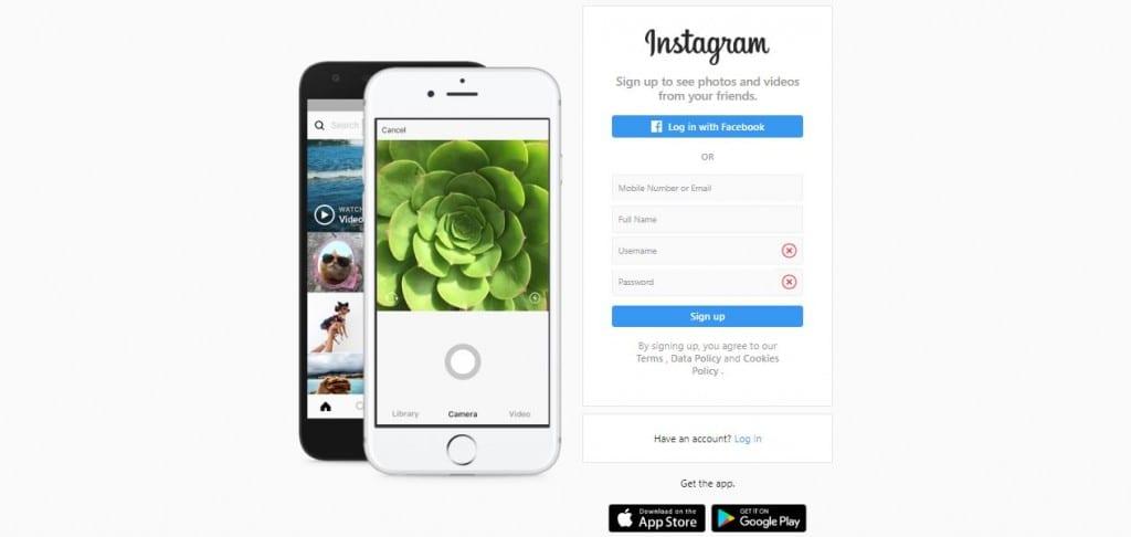 Link na Bio: imagem da página de entrada do Instagram