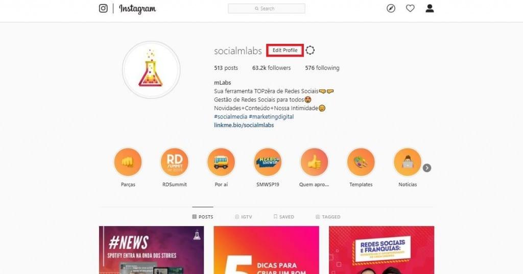 Link na Bio: imagem da página de perfil do Instagram