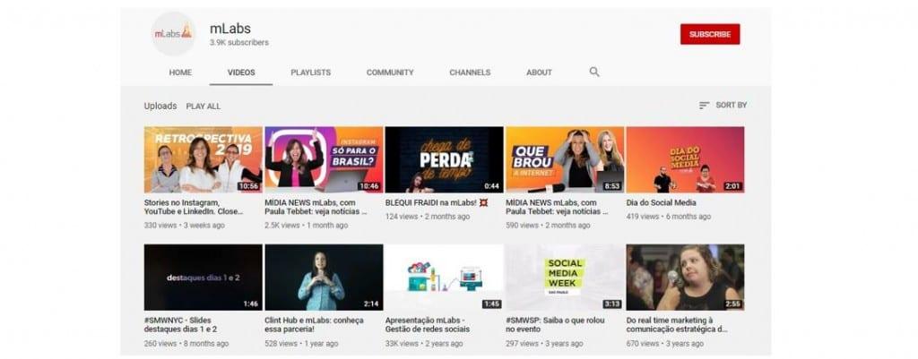 Ganhar visualizações no YouTube: imagem do canal da mlabs no YouTube na aba videos.