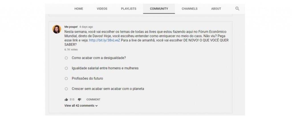 Ganhar visualizações no YouTube: imagem da aba comunidade do canal do YouTube chamado Me Poupe.