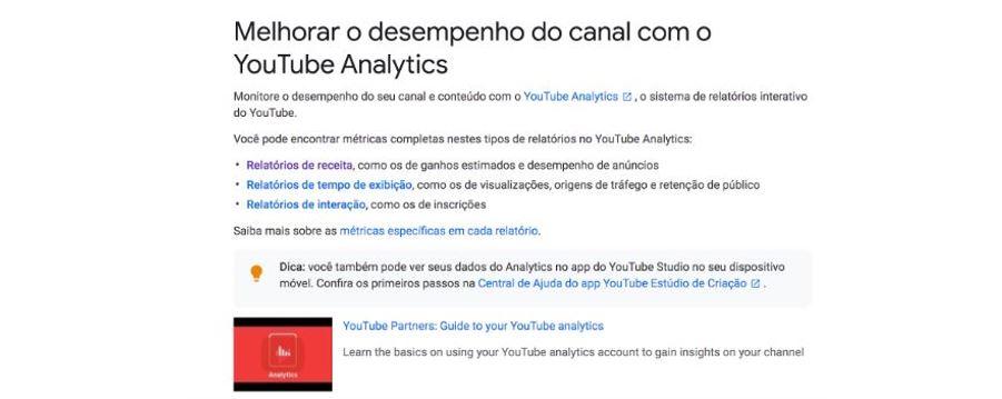 Ganhar visualizações no YouTube: imagem da tela do YouTube Analytics.