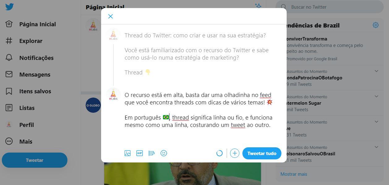 Thread do Twitter: imagem da página inicial do Twitter