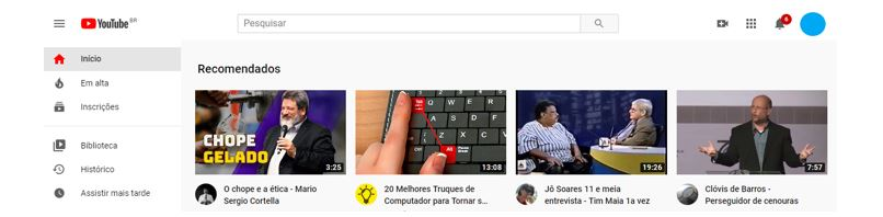 YouTube Analytics: Imagem de página principal do YouTube.