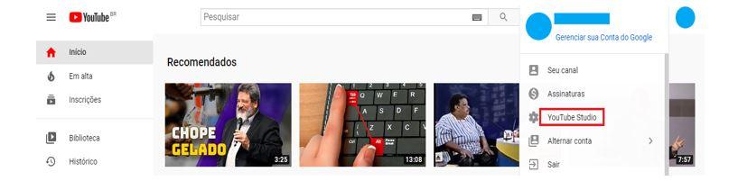 YouTube Analytics: Imagem de página principal do YouTube, mostrando onde se localiza o YouTube Studio