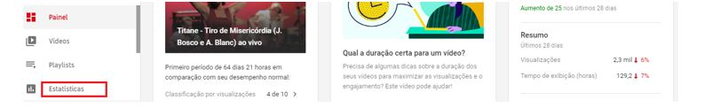 YouTube Analytics: Imagem de página principal do YouTube, mostrando onde se localizam as Estatísticas