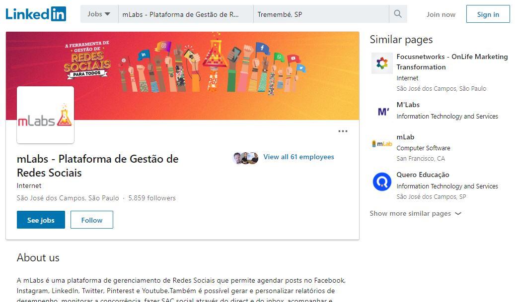 Como gerar leads pelo LinkedIn: imagem da página da mLabs no LinkedIn