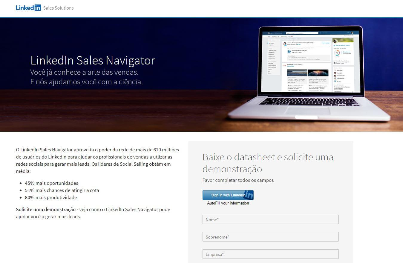 Como gerar leads pelo LinkedIn: imagem da página inicial da ferramenta LinkedIn Sales Navigator