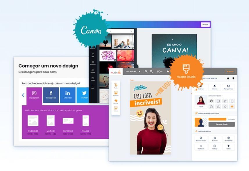 Criar Posts: imagem das telas da ferramenta mLabs, indicando o Canva e o mLabs Studio de criação