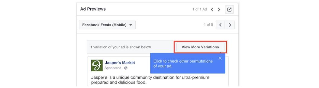 """Criativo dinâmico do Facebook: imagem do Gerenciador de Anúncios do Facebook na página """"Ver mais variações"""""""