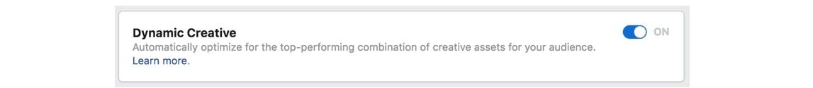 Criativo dinâmico do Facebook: imagem do Gerenciador de Anúncios do Facebook na página de habilitar o criativo dinâmico