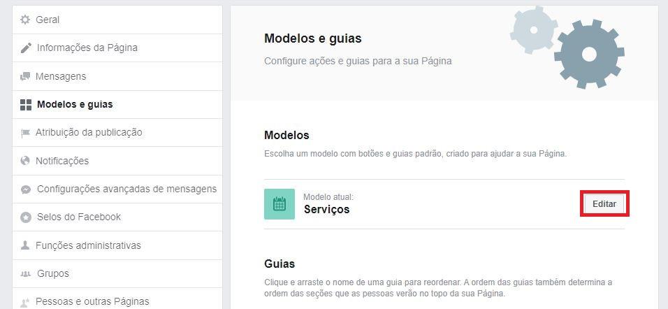Loja virtual no Facebook: imagem da página de configurações da Fan Page.