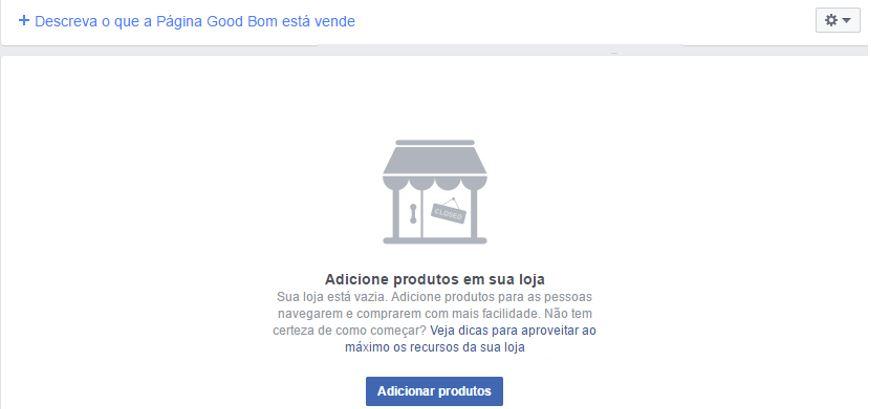 Loja virtual no Facebook: imagem da página de adicionar produtos à loja