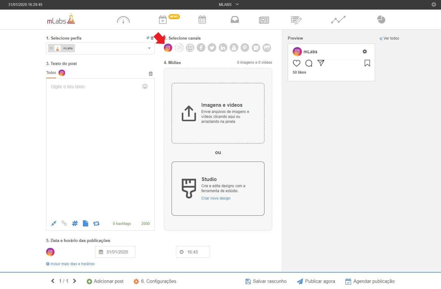 Criar Posts: imagem da tela de agendamento da mLabs