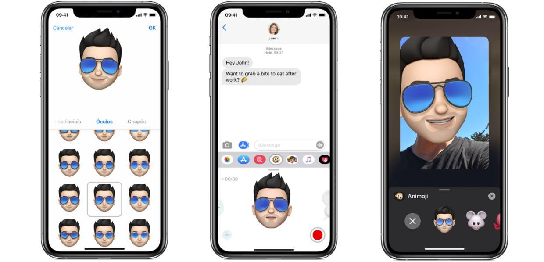 memoji: imagem três celulares, cada um indicando como usar o memoji nas mensagens e no face time