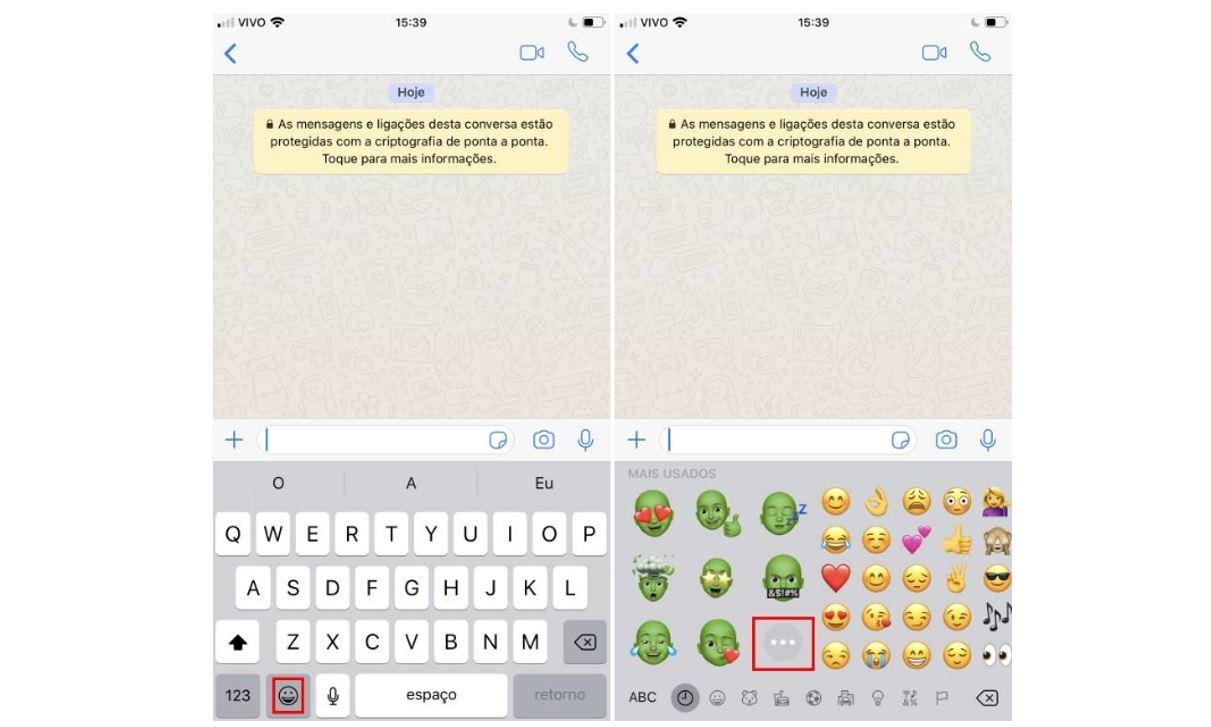 memoji: imagem da tela do whatsapp aberta mostrando onde clicar para enviar o memoji