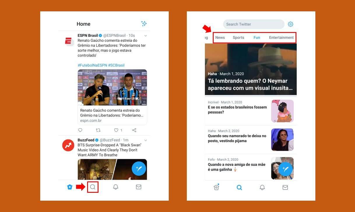 Twitter Moments: imagem da página inicial do Twitter e da página Explorar