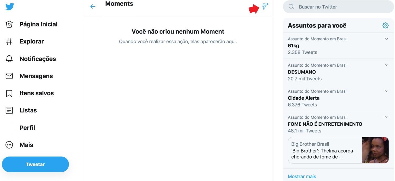 Twitter Moments: imagem da página Moments do Twitter