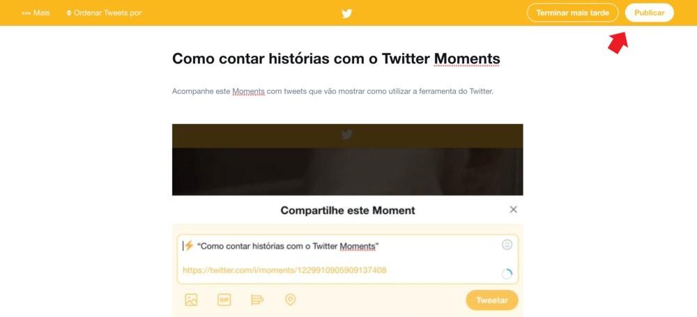 Twitter Moments: imagem da página de criação de Twitter Moments