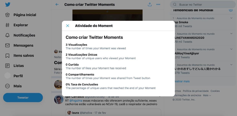 Twitter Moments: imagem da página de métricas do Twitter