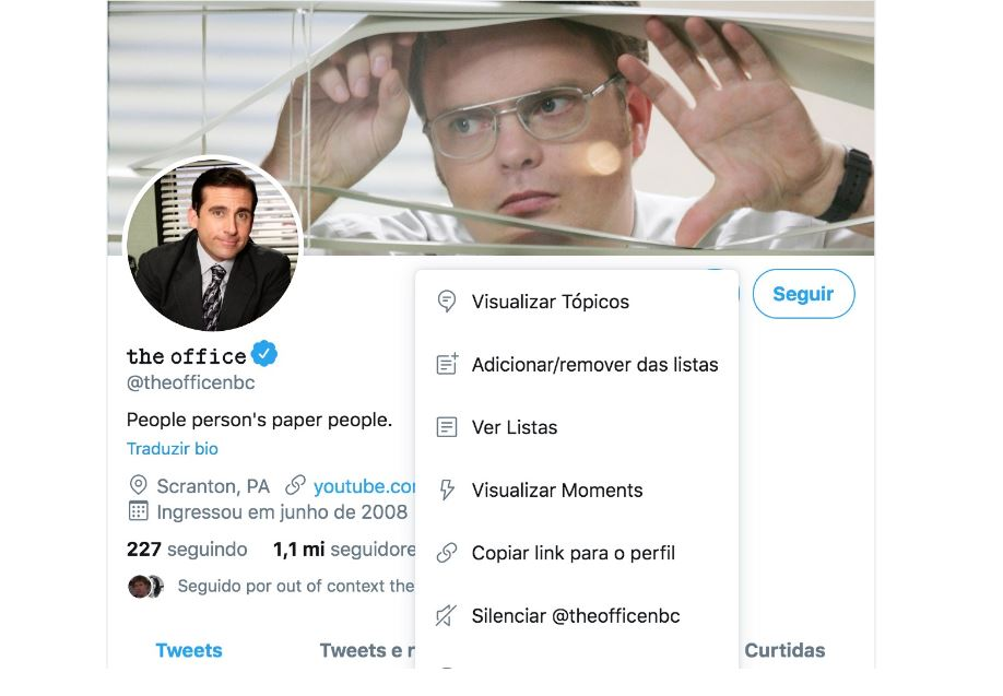 Twitter Moments: imagem do perfil do The Office no Twitter