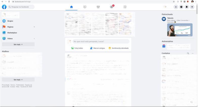 Novo Facebook 2020: imagem do design novo do Facebook.