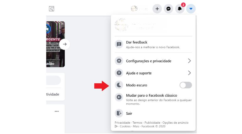 Novo Facebook 2020: imagem da tela do facebook que indica onde mudar para tela escura.