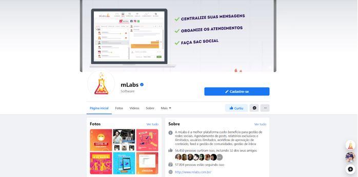 Novo Facebook 2020: imagem de uma Fanpage com design novo.