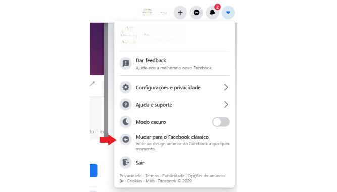 Novo Facebook 2020: imagem da tela do facebook que indica como retornar para o modelo clássico.