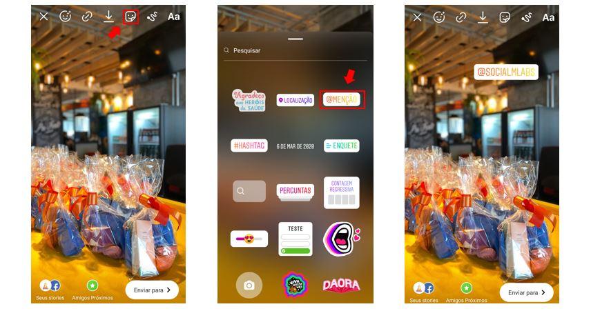 Como marcar pessoas no Instagram: imagem de três telas indicando o passo a passo